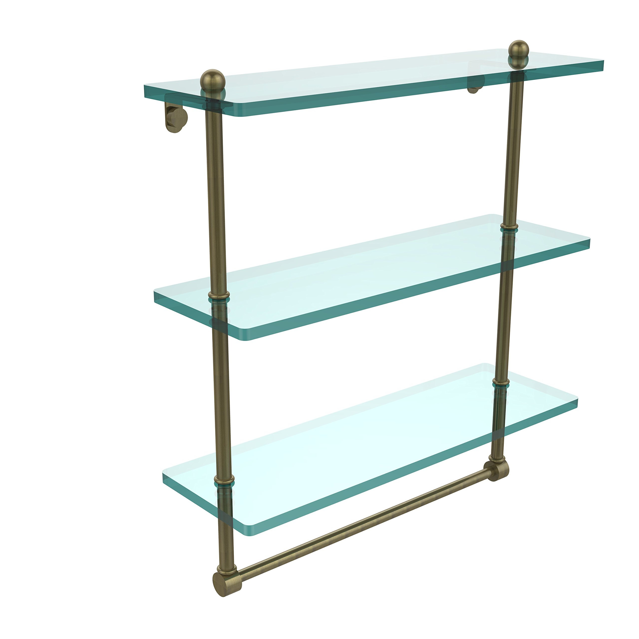 Allied Brass PR-5/16TB-ABR 16 Inch Triple Tiered Glass Shelf with Integrated Towel Bar Antique Brass