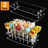 Cake Pop Stand Display, 21 Hole Clear Acrylic Lollipop Holder Weddings Baby Showers Birthday Parties Anniversaries Halloween Candy Decorative (2 Pack)