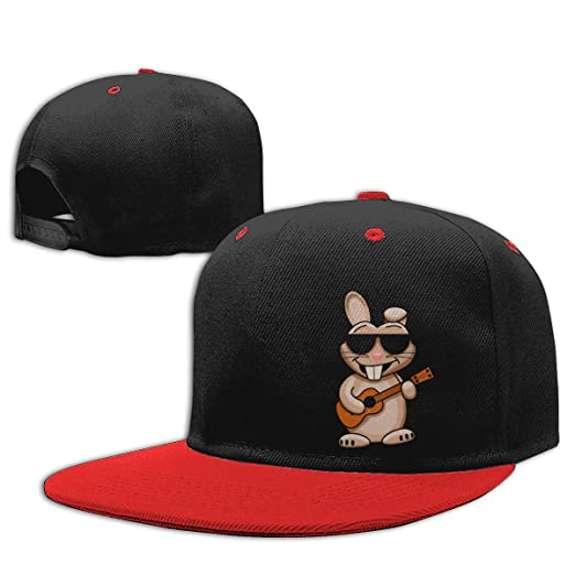 4c5eb6f2a Amazon.com: Cool Rabbit with Ukulele Hip Hop Baseball Cap Kids ...