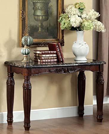 Exceptional Brampton Classic Styling Espresso Finish Wood Sofa Console Entry Table With  Faux Marble Top