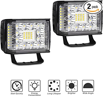 2x 2 Row 4inch LED Light Bar Pods Spot Off Road Bumper Driving ATV Pickup SUV