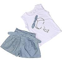 Fossen Ropa Niña Verano 2021-2 3 4 5 6 7 años - Color sólido Camiseta sin Mangas con Patrón + Pantalones Cortos a…