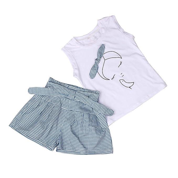 8f389a1c9 Fossen Ropa Niña Verano 2019-2 3 4 5 6 7 años - Color sólido Camiseta sin  Mangas con Patrón + Pantalones Cortos a Cuadros - Moderna Conjunto de ...