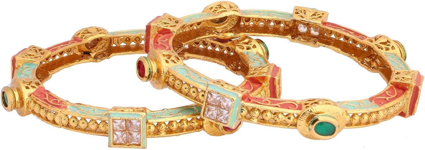 2 Pc Efulgenz Indian Style Bollywood Traditional Gold Plated Faux Kundan Stone Wedding Bridal Bracelet Bangle Set Jewelry