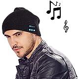 MOCREO(モクリオ) ブルートゥース 帽子 Bluetoothイヤホン内蔵 ニット帽 ワイヤレス音楽帽(ブラック)
