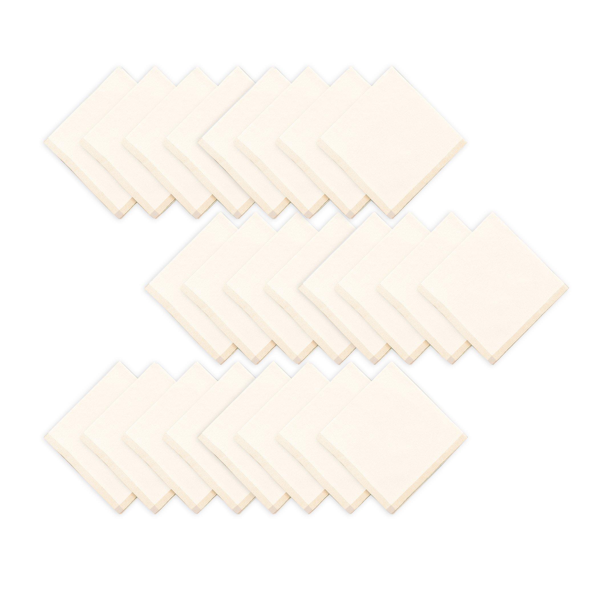 Elrene Home Fashions Everyday Cotton Napkin Machine Washable, 18''x18'' (Set of 24), Natural