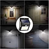 Solar Motion Sensor Light IDESION 100 LED Outdoor 3 Modes 270°Wide Angle Waterproof Solar Powered Security Night Light for Garden Fence Deck Patio Garage Yard 2 Pack
