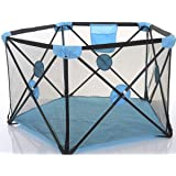 Baby Portable Playpen Kids Playard Activity Center Room Fitted Floor and Washable 5-Panel Safety Protection Care Crawling Folding Fence Toys Portable Indoors Outdoors and Parks Gifts (Blue)