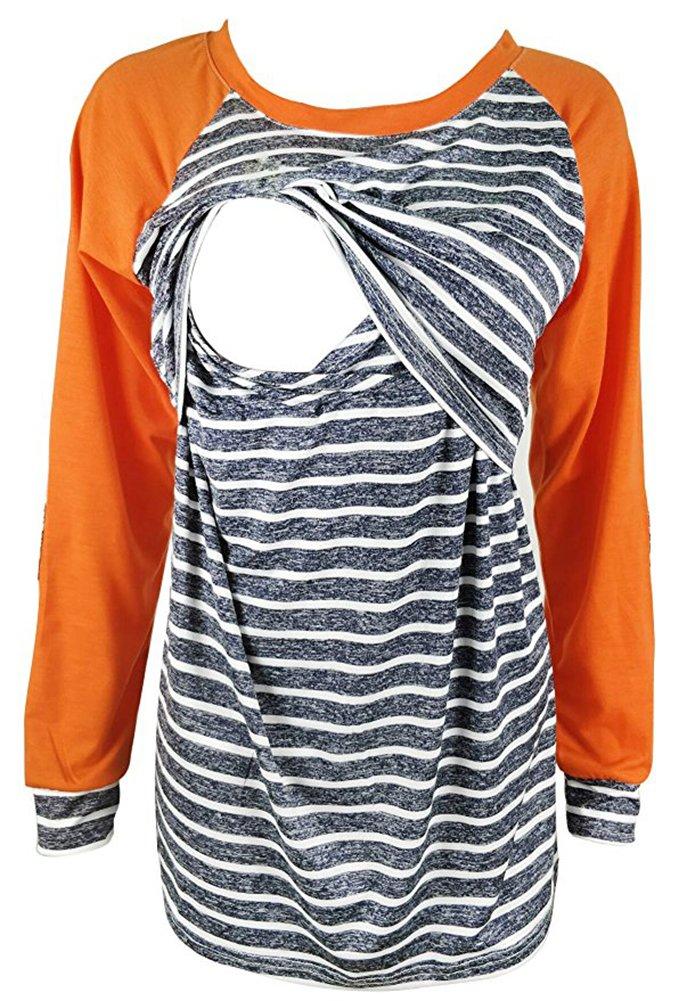 Charbolin Women's Maternity Stripe Nursing Tops Breastfeeding Long Sleeve Orange Shirts (M, Orange)