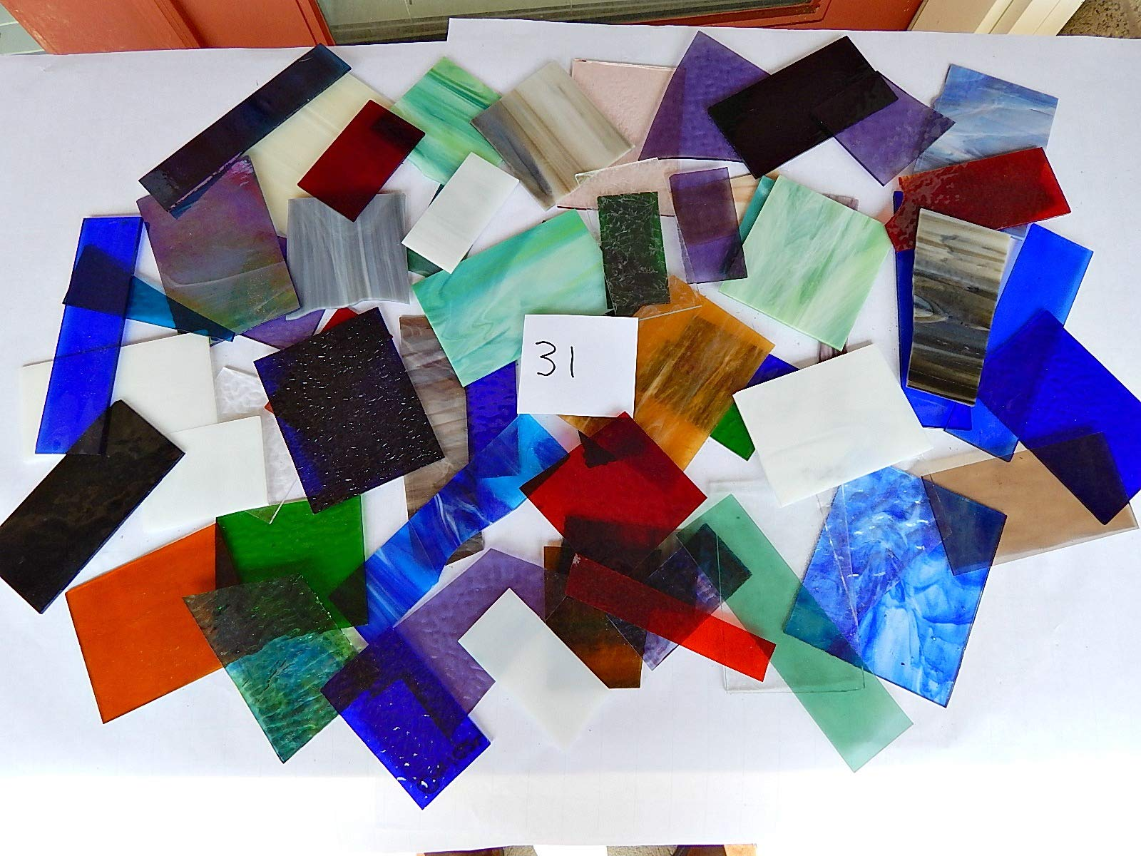 Over 10 LBS Larger Pieces Spectrum Wissmach Stained Glass Mosaic Scrap LOT#31