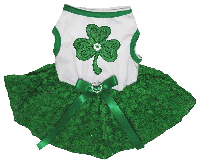 Petitebella Green Clover Puppy Dog Dress