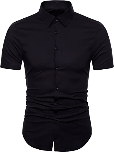 Manwan walk Men/'s Slim Fit Business Casual Cotton Long Sleeves Solid Button Down
