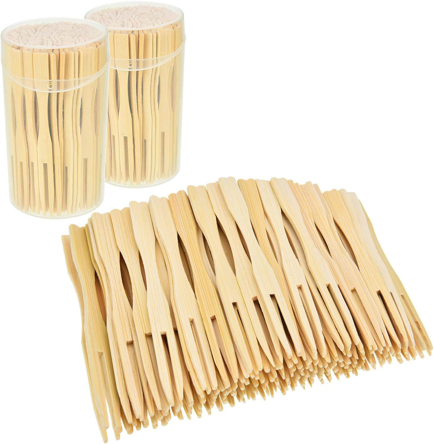 Jovitec 2 Pack 220 Pieces Total Bamboo Forks Mini Food Picks Double Prong Cocktail Forks Blunt-end Forks for Banquet Catering Party, 3.5 Inches