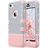 iPhone 5C Case,5C Case,ULAK 3 in 1 PC + Silicone Hybrid Dust Scratch Resistance Anti-slip Protective Cover for Apple iPhone 5C-Minimal Rose Gold