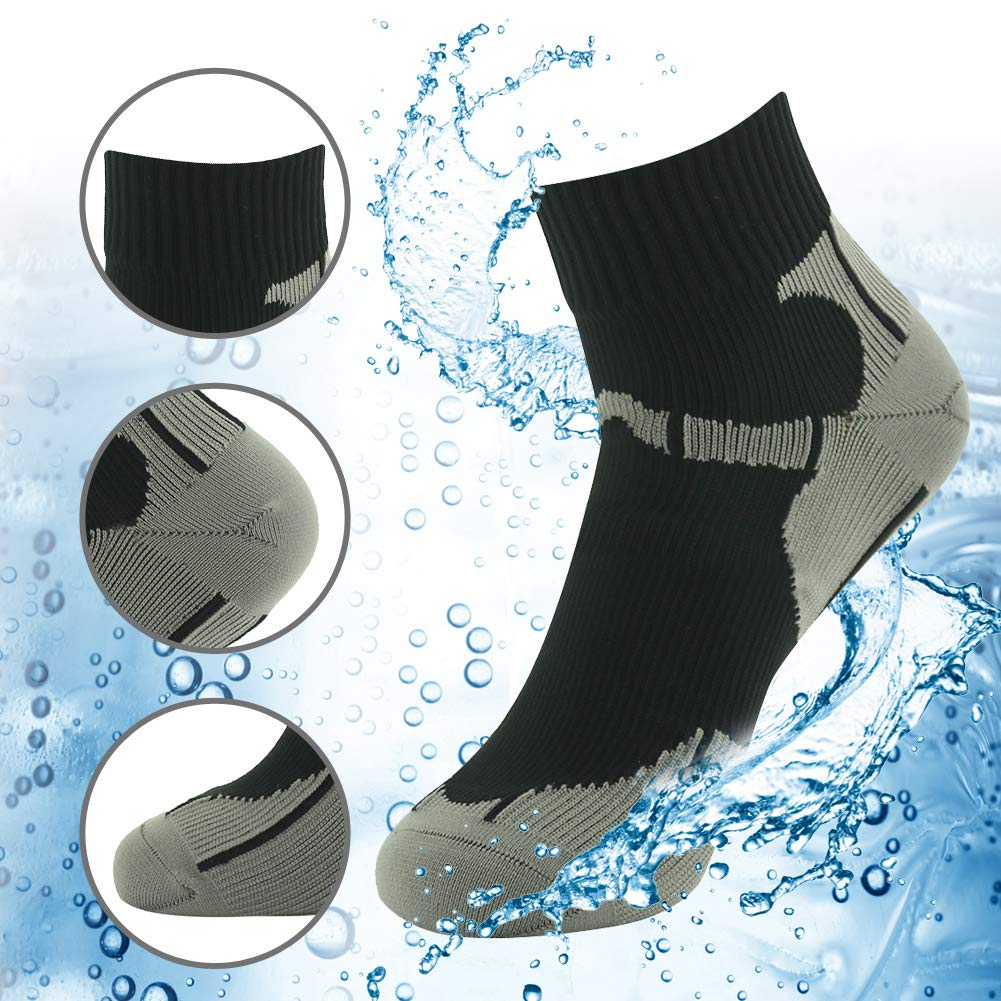 RANDY SUN Ankle Socks, Waterproof Breathable Socks, [SGS Certified] Unisex Comfortable Thick Waterproof Socks Black & Gray Small by RANDY SUN
