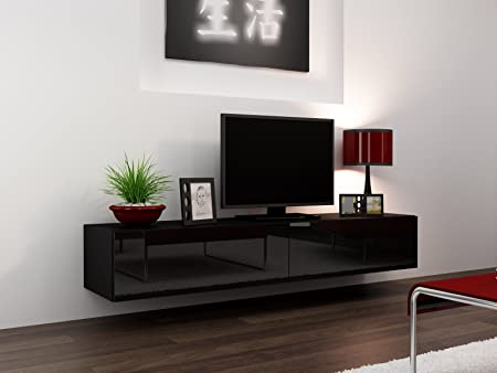 High Gloss TV Stand Entertainment Cabinet - 180cm Floating Wall Unit - 7  Colours (Black)  Amazon.co.uk  Kitchen   Home 461d35182