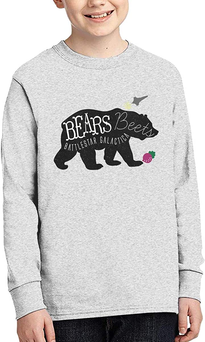 Onlybabycare Bears Beets Battlestar Galactica Print Boys Girls Long Sleeve Moisture Wicking Athletic T Shirts