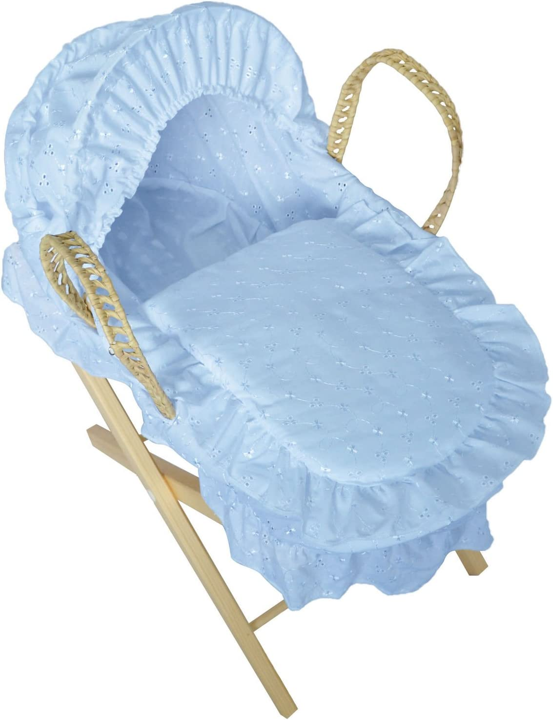 Stand is NOT Included Blue Luxury British Made Broderie Anglaise Blue Pink Palm Dolls Moses Basket