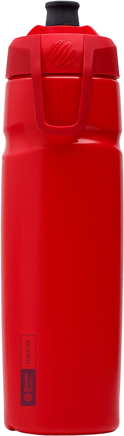 BlenderBottle Hydration Halex Squeeze Water Bottle with Straw, 32-Ounce, Red