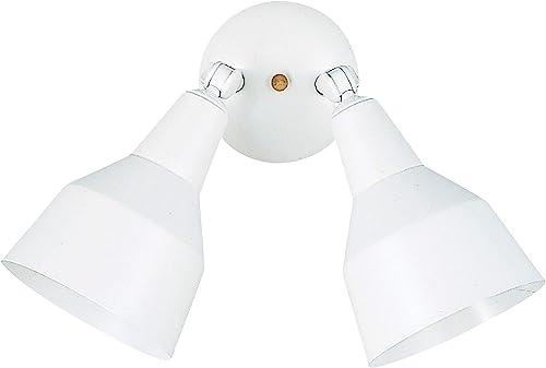 Sea Gull Lighting 8607-15 Flood Light Two-Light Adjustable Swivel Flood Light Outside Fixture, White Finish