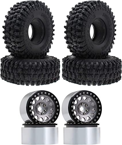INJORA 1.9 RC Tires 4.7 Inch Outer Diameter and 1.9 Beadlock Wheels Black Grey