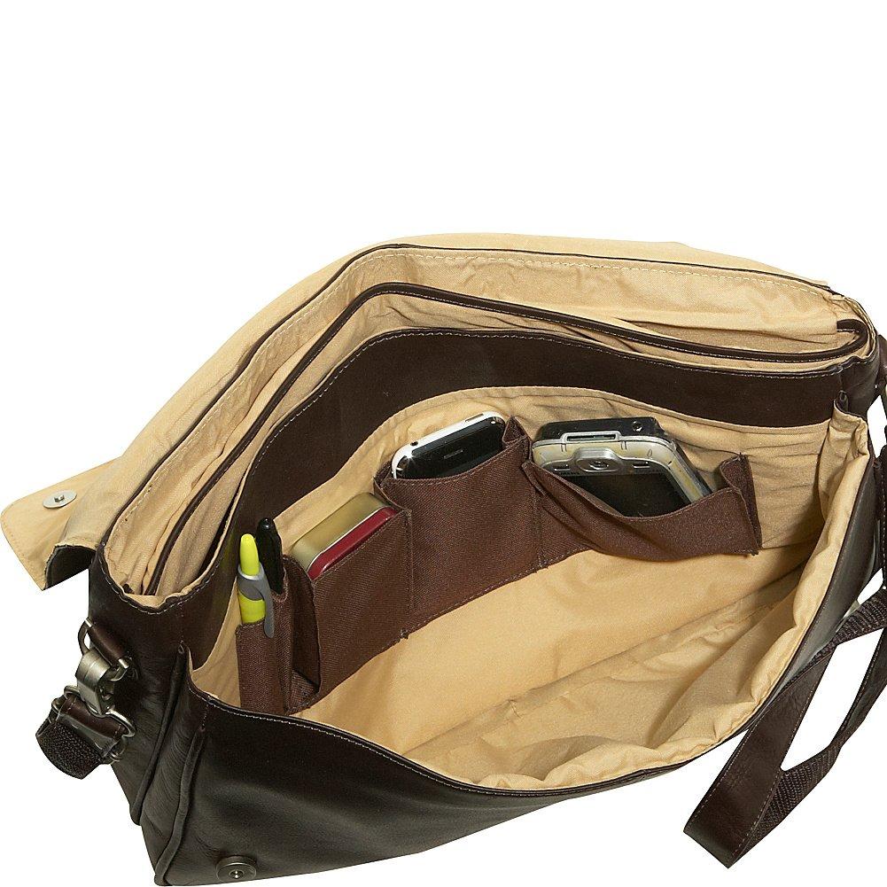 One Size Piel Leather Professional Laptop Messenger Saddle