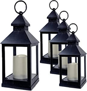 "BANBERRY DESIGNS Decorative Lantern - Set of 4-5 Hour Timer - 9 3/8"" H Black Lanterns with Flameless Candles Included - Indoor/Outdoor Lantern Set - Patio Porch Decor"