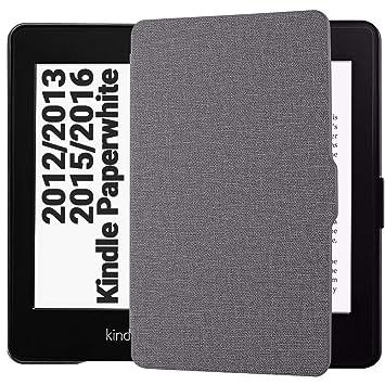 EasyAcc Funda para Kindle Paperwhite Ligera con Función de Auto-Sueño/Estela para Kindle Paperwhite 2012, 2013, 2015, Gris