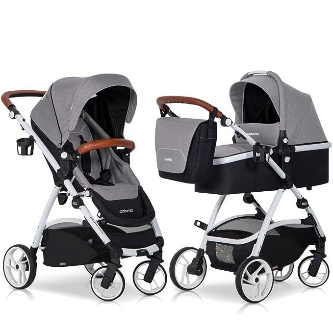 Carrito 2 in1 Optimo Juego completo - Piel & Aluminio Tech gris Grey Fox: Amazon.es: Bebé
