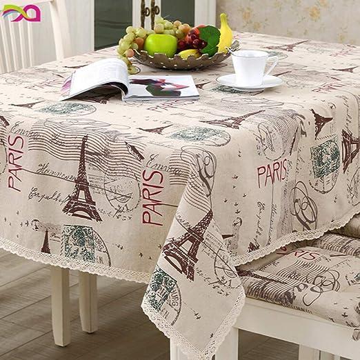 TWTIQ Decoración de la Mesa de Lino de algodón Mantel de patrón de ...