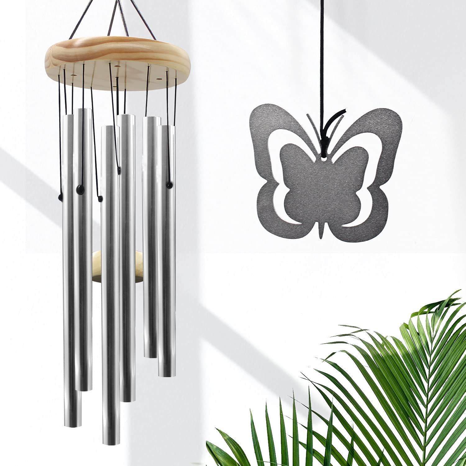 LUOLAI Wind Chimes Outdoor Clearance, 30'' Butterfly Wind Chimes for Outside with 6 Tubes Tuned Soothing Music, Great as Memorial Sympathy Wind Chimes Gifts for Home Garden Patio Backyard Decor