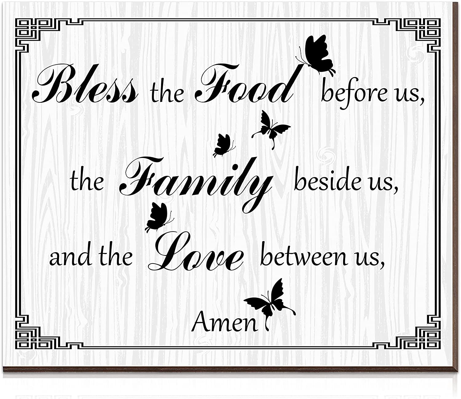Bless The Food Before Us Rustic Wooden Wall Decor Blessing Farmhouse Hanging Decoration Wooden Heartwarming Quote Modern Farmhouse Decor for House Kitchen Dining Wall Decor
