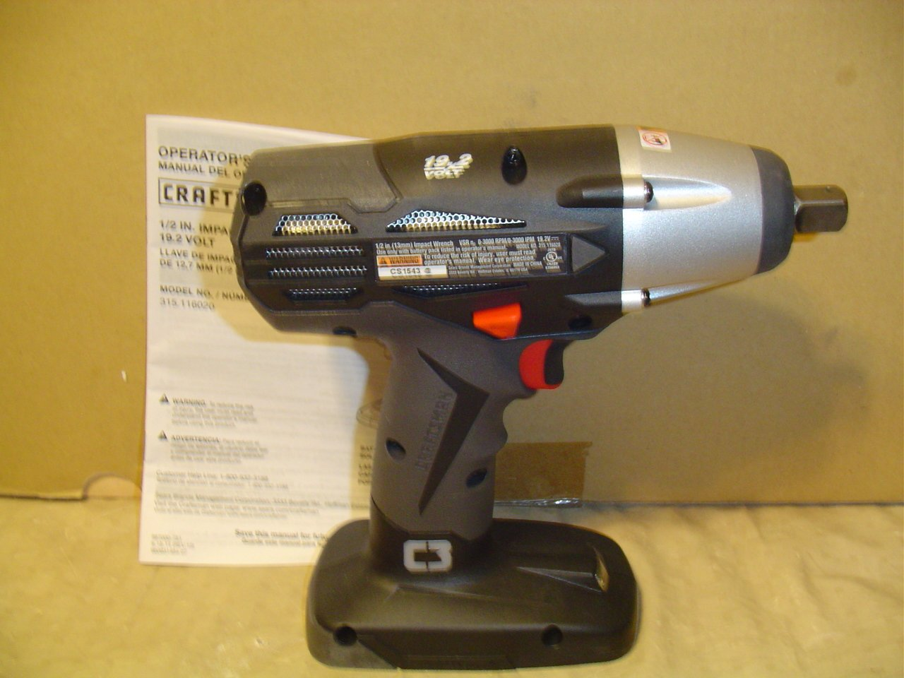 Craftsman 19.2v C3 1 2 Impact Wrench Bulk Packaged. Battery and Charger Not Included
