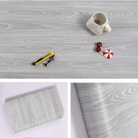 Carta da parati autoadesiva per mobili, design legno venato, colore grigio,  per bancone, armadietti di cucina, muro, tavolo, porta, scrivania, ...