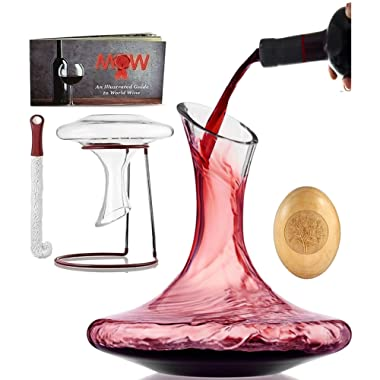 Wine Decanter Aerator Set - with Wood Stopper, Cleaning Brush and Drying Stand - Wine Accessories in Deluxe Box - Hand Blown Lead-Free Glass Carafe Kit Perfect for Wine Enthusiast