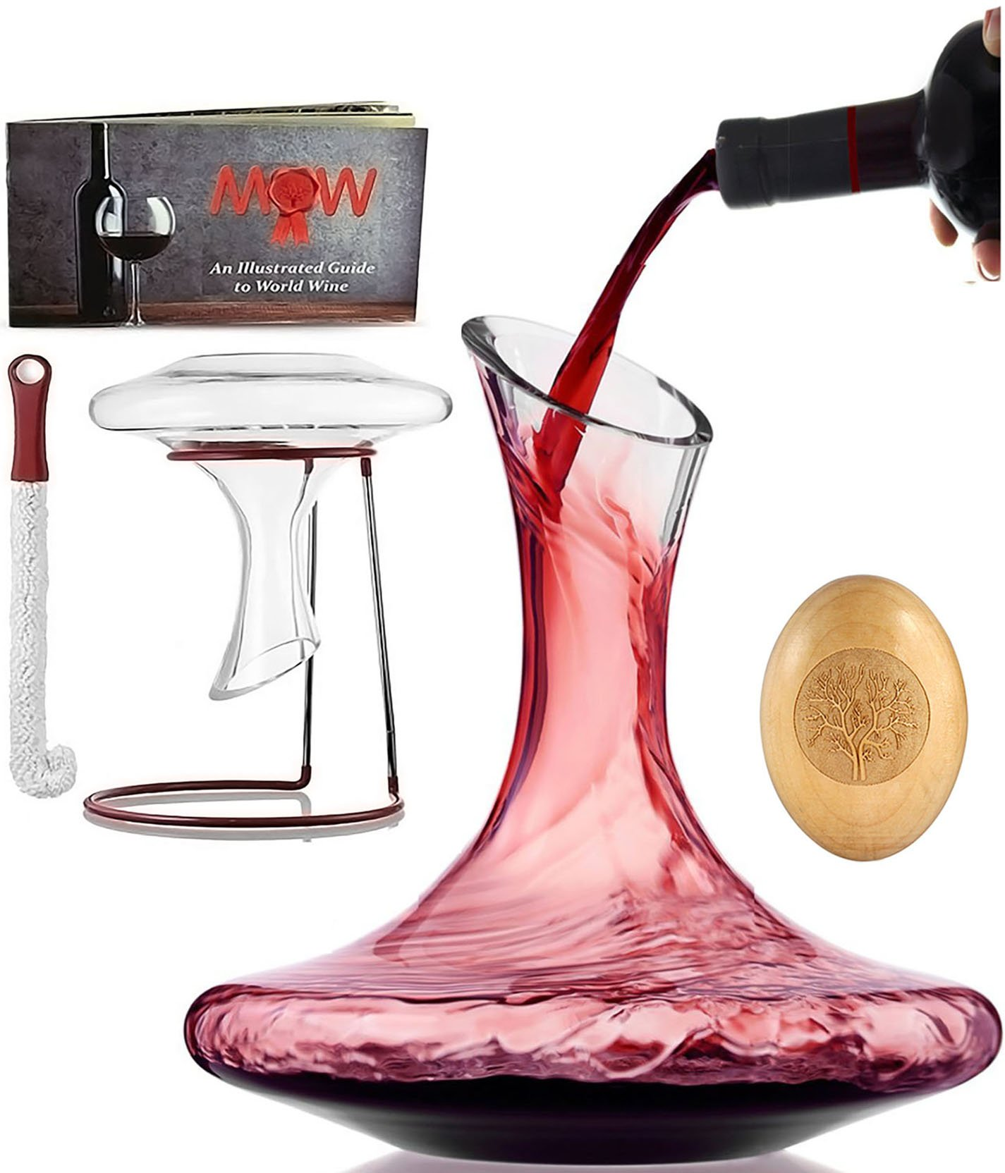 Wine Decanter Aerator Set - with Wood Stopper + Cleaning Brush & Drying Stand | Wine Accessories in Deluxe Box |100% Hand Blown Lead-Free Glass Carafe Kit Perfect for Wine Enthusiast