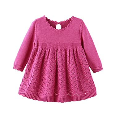 83389bd58 Amazon.com  Auro Mesa Baby Girls Knit Dress Long Sleeve Princess 1 ...