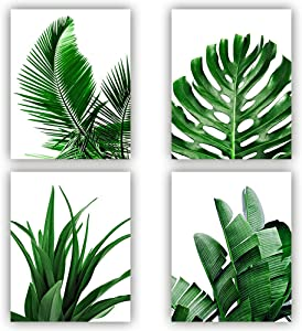 MGahyi Botanical Wall Art Prints, Tropical Leaves Art Print, Tropical Plants Pictures, 4 Pieces Plant Leaf Posters, Minimalist Green Leaf Wall Decor Unframed-8