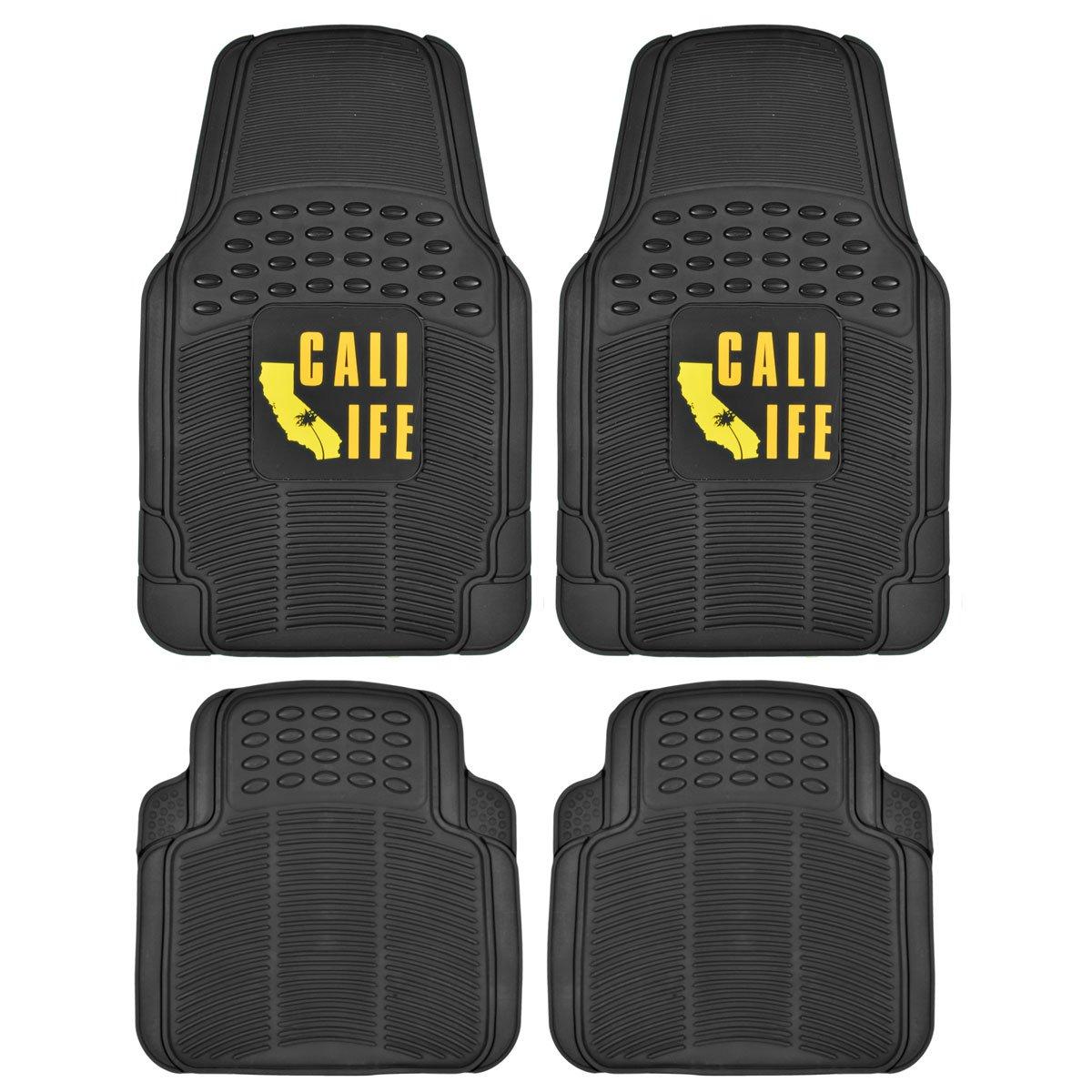 California Life Rubber - 4 Pieces, Heavy Duty All Weather Protection BDK MT-812+MT-802-BK Black Floor Mat