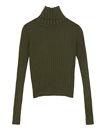 f38054f329 Zara Women s Ribbed Knit Sweater 3471 104 Green  Amazon.co.uk  Clothing