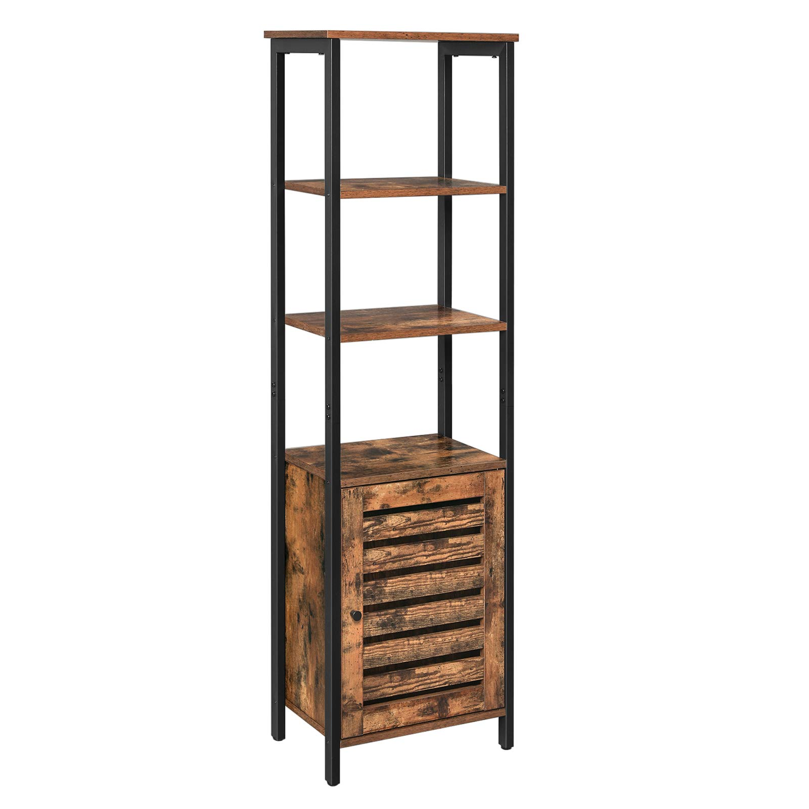 VASAGLE 4-Tier Tall Cabinet, Storage Cabinet with Door and Inside Adjustable Shelf, Sturdy Steel Frame, Space-Saving, for Living Room, Entryway, Kitchen, Bedroom, Rustic Brown and Black LSC36BX