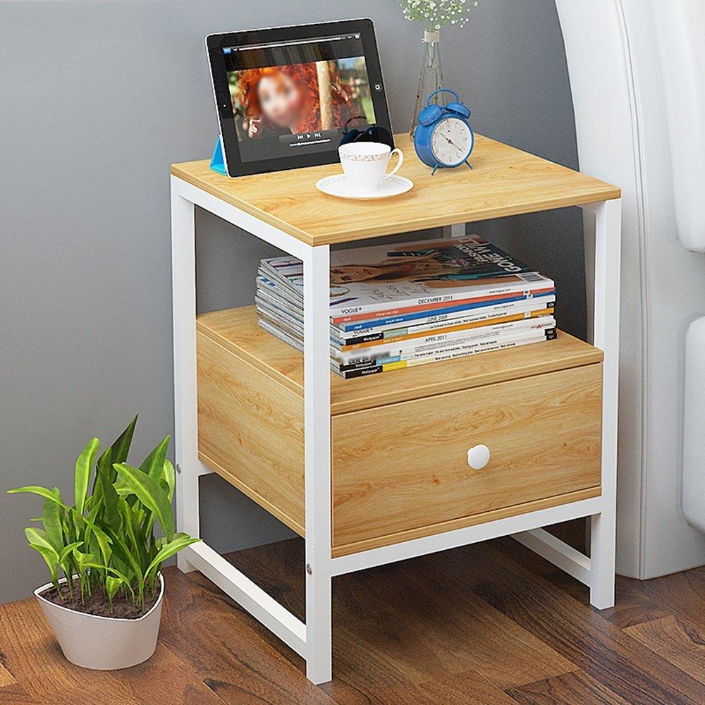 ナイトテーブル ベッドサイドキャビネットは、ベッドルームのサイドサイドキャビネットの収納ロッカーキャビネットの小型キャビネットを組み立てる (色 : A) B07FBFJY6P A A