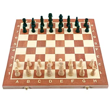 DEZIINE Chess Board Wooden 13 Inches