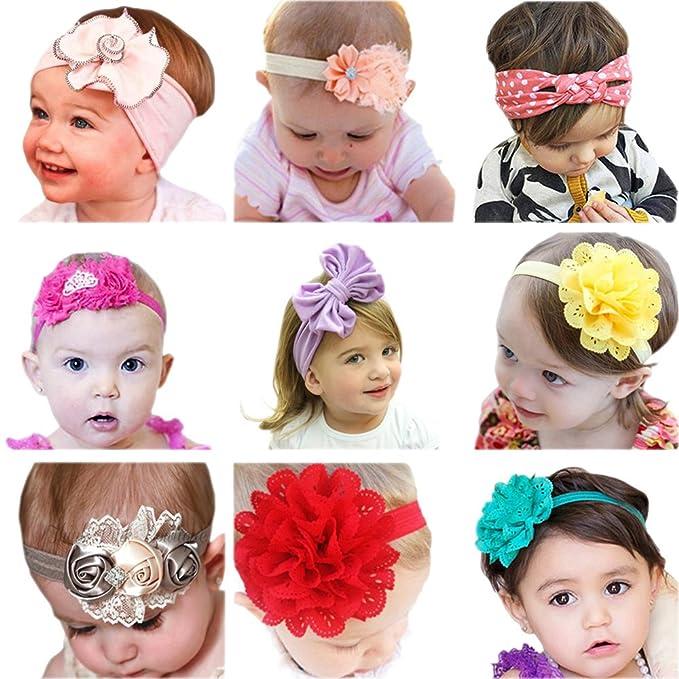 JMITHA Bambino fascia Fasce di fiore della neonata Cerchietto elastico  Accessori per capelli a fiori - 9 pezzi  Amazon.it  Abbigliamento f2fe7e6dd455
