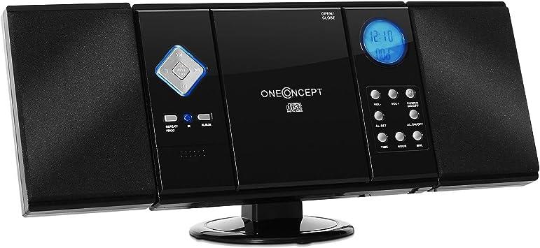 Reproductor est/éreo de CD, USB, MP3, AUX, Radio Am//FM, pie de Apoyo y Soporte para Pared, Mando a Distancia, Pantalla LCD oneConcept Vertical 70 minicadena Blanco
