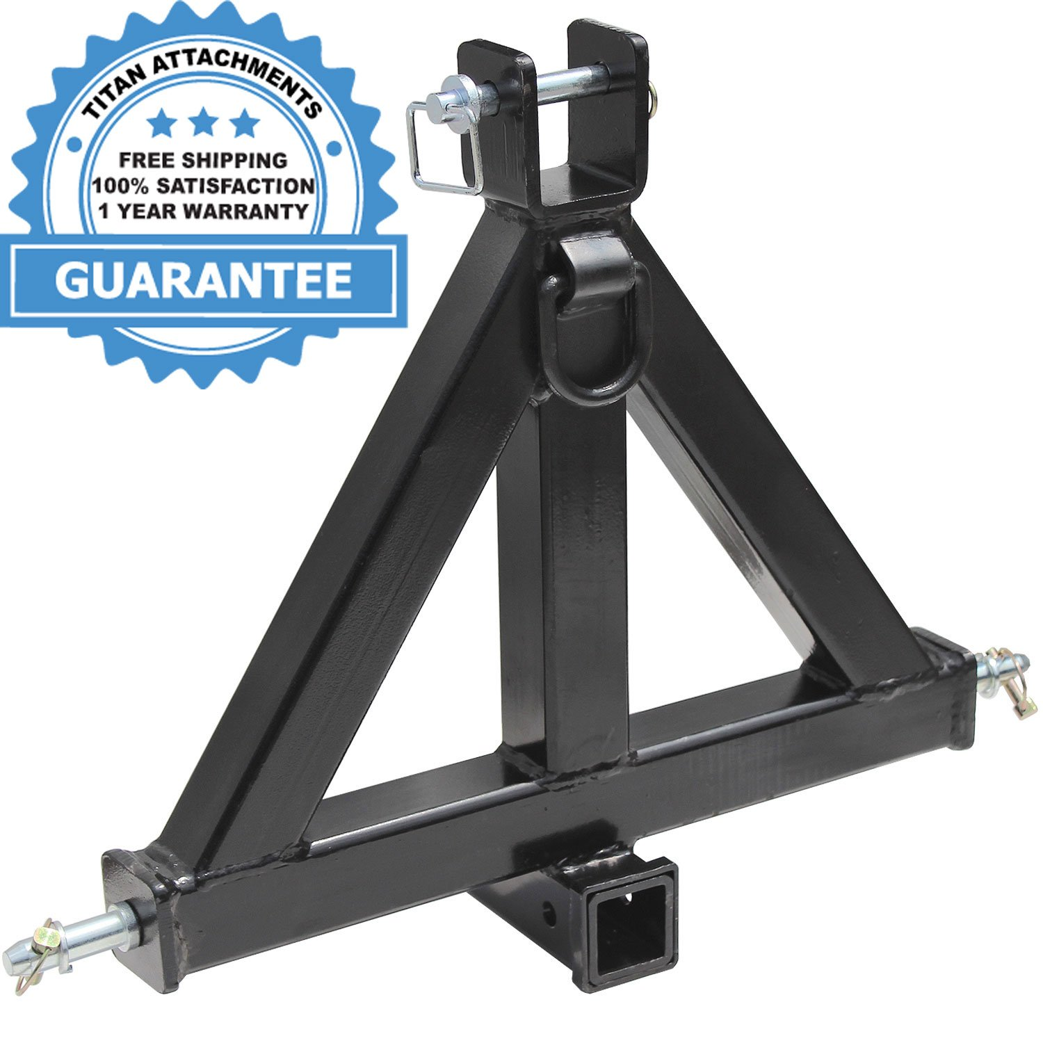 Heavy Duty 3 Point 2'' Receiver Trailer Hitch Category 1Tractor Tow Drawbar Pull by Titan Attachments