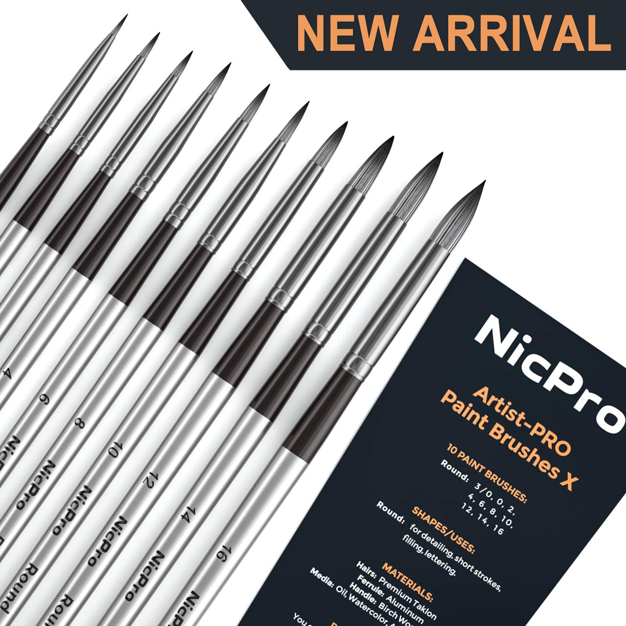 Nicpro 10 PCS Round Paint Brush Set Artist Painting Brushes for Watercolor Acrylic Oil, Art Paintbrush by Nicpro