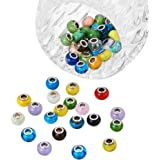 Pandahall 100PCS Mixed Styles Handmade Lampwork Glass European Beads with Brass Double Cores, Large Hole Rondelle Beads, Mixed Color