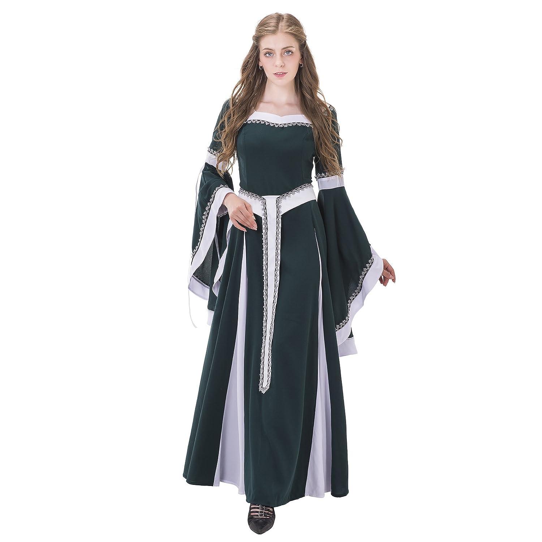 COUCOU Age Renaissance Kleid Damen Mittelalter Kostüm Spitze Gürtel ...