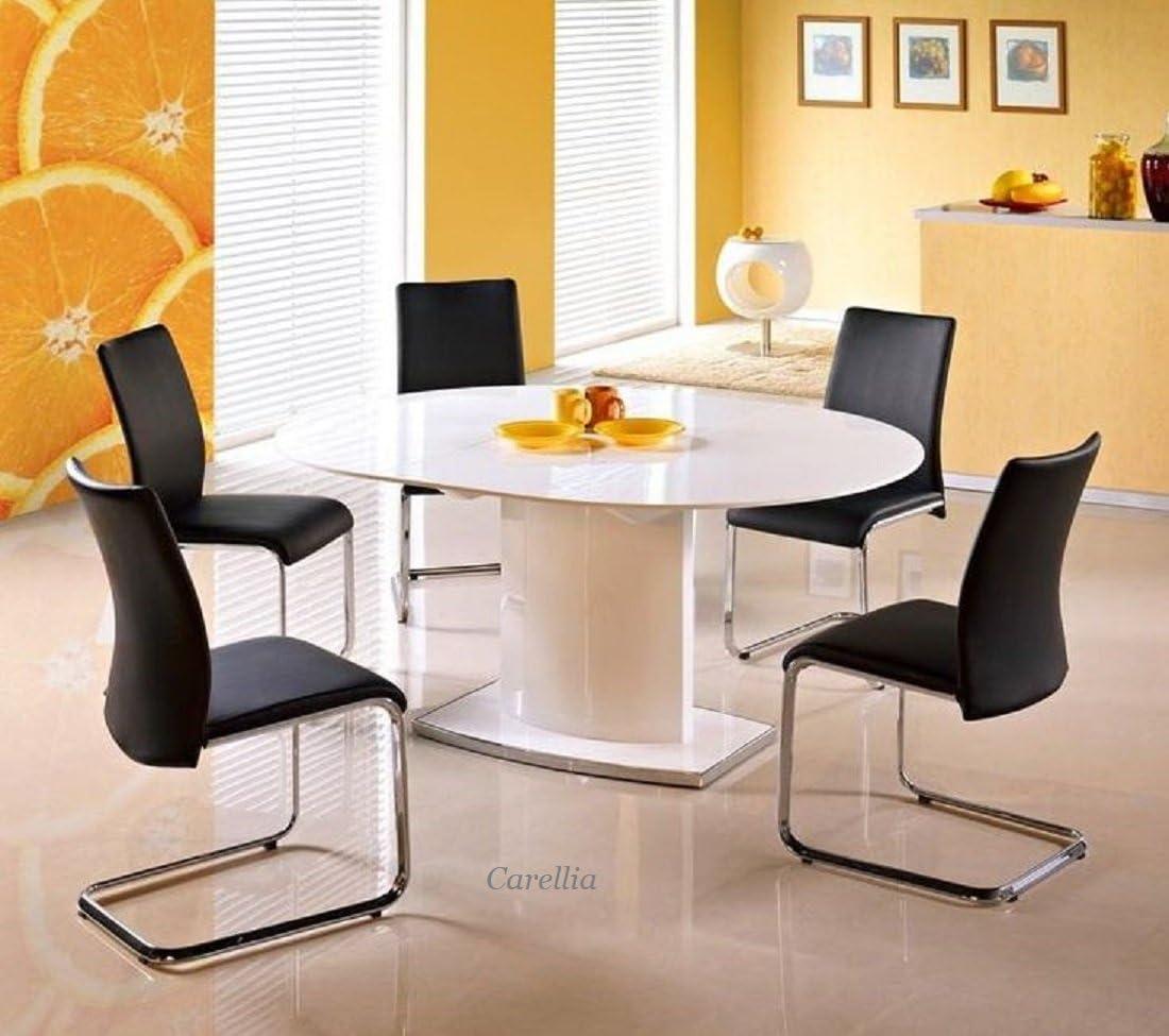 Mesa a comedor ovalada extensible – L: 120 ÷ 160 cm x P: 120 cm x ...